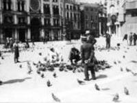 Туристы во время кормления голубей на площади Сан-Марко. Италия, г. Венеция. Лето 1914 г. Фот. В.В. Левитский