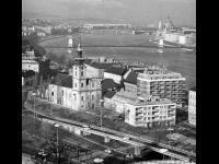 Общий вид города; река Дунай, мосты через реку со стороны горы Геллерт. Венгрия, г. Будапешт. 1970 г. Фотограф В.Б. Соболев.