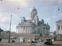 Вид Собора Святого Николая (1830-1852, арх. Карл Людвиг Энгель) на Сенатской площади Хельсинки. Финляндия, г. Хельсинки. 24.06.1963 г. Фот. Б.Т. Иванов.